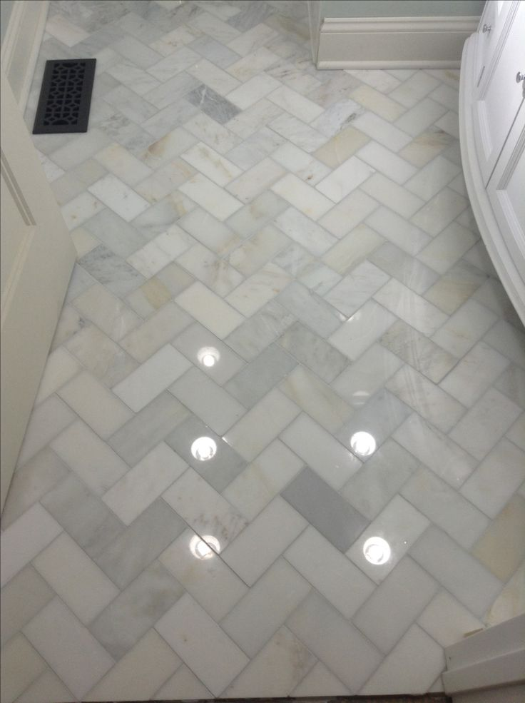 Herringbone marble bathroom floor home decor pinterest for Carrara marble bathroom floor designs