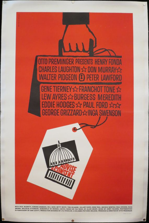 ADVISE AND CONSENT Classic Saul Bass design offered by ScreenlandMoviepaper