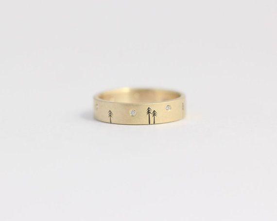 Unico fidanzamento diamante anello 14kt anello in oro giallo bosco matrimonio invernale 4mm 9 diamanti