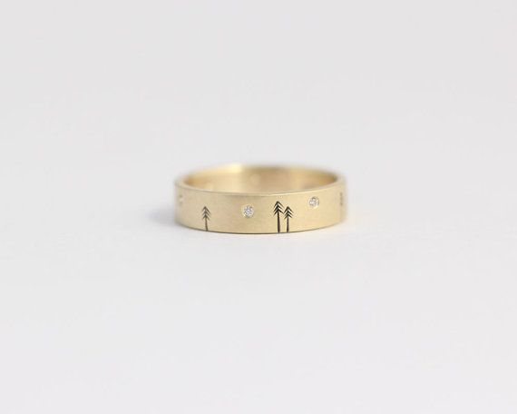 Diamond engagement ring 14kt yellow gold woodland by ashhilton