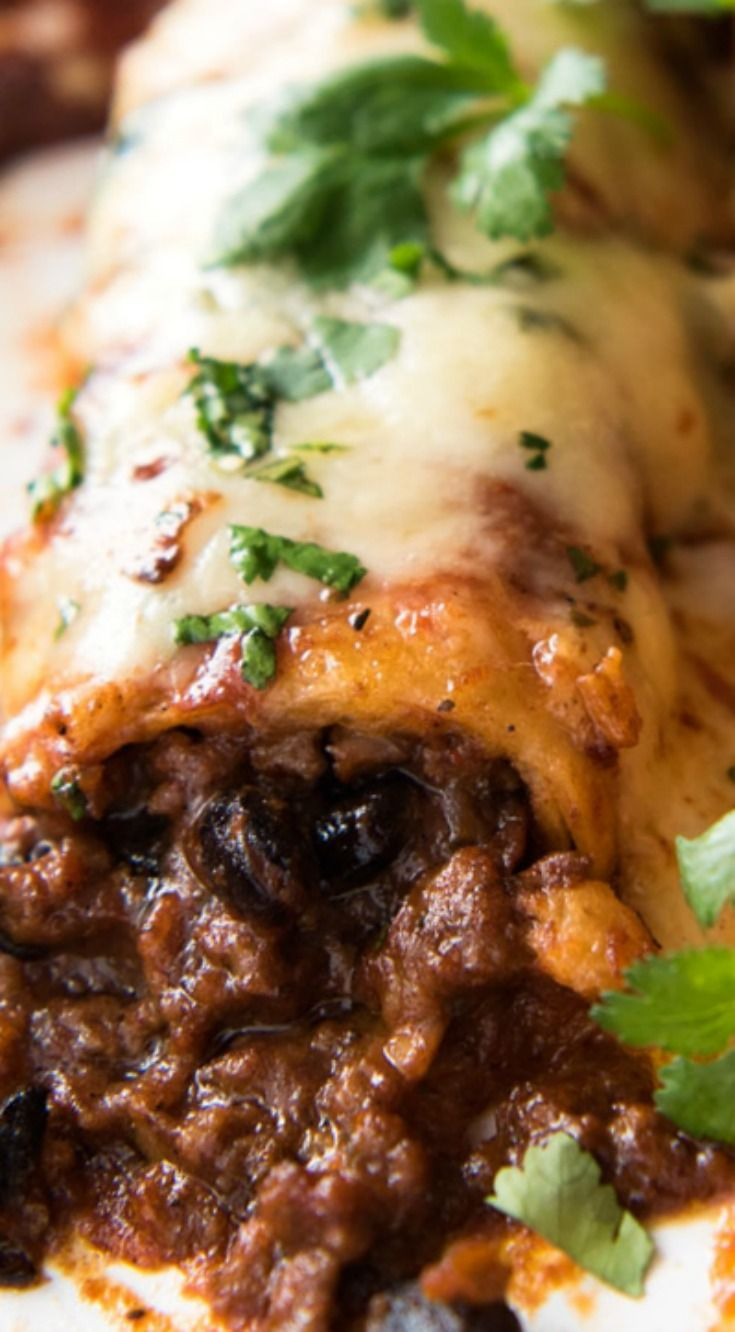 Beef Enchiladas ~ With an extra tasty, saucy filling, smothered with a homemade Enchilada Sauce.                                                                                                                                                                                 More