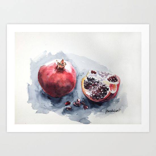 Pome-granate Art Print by Violeta Boyadzhieva. Worldwide shipping available at Society6.com. Just one of millions of high quality products available.