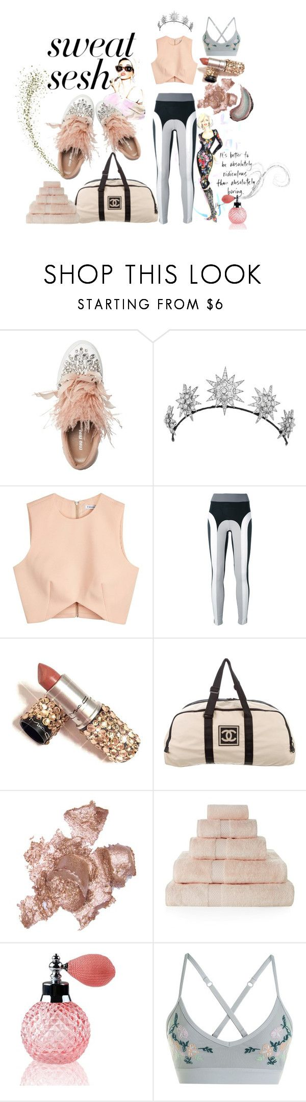 """""""gym style"""" by vinny1108 ❤ liked on Polyvore featuring Lilya, Miu Miu, Finders Keepers, No Ka'Oi, Chanel, By Terry, Yves Delorme, Lorna Jane, Butter London and sweatsesh"""