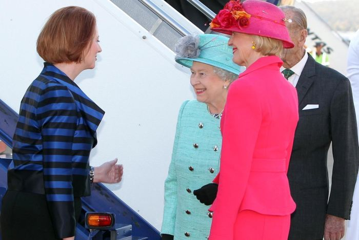 Prime Minister Julia Gillard and Governor-General Quentin Bryce  greets The Queen and the Duke of Edinburgh in Canberra during a Royal Visit in 2011.