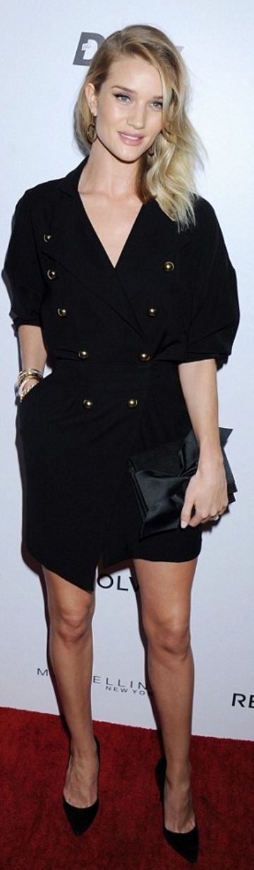 Rosie Huntington-Whiteley: Dress – Alexandre Vauthier  Earrings – Vita Fede  Bracelet – Cartier and Anita Ko  Purse – Victoria Beckham Collection