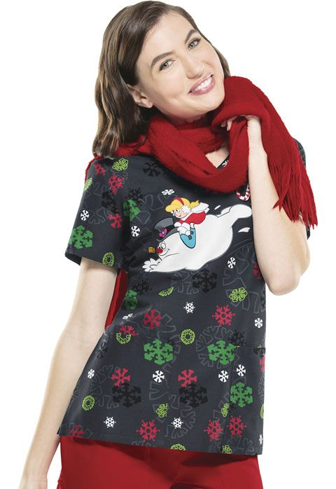 "Have some ""Jolly Frosty Fun"" this holiday season with this classic v-neck scrub top! 