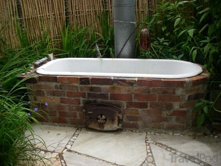 1000 images about wood fired bath hot tub on pinterest for Outdoor bathtub wood fired