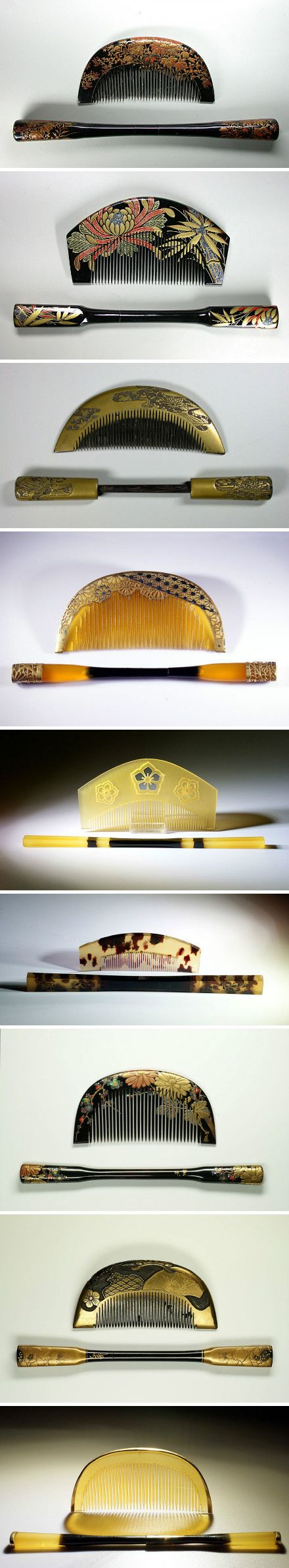 Kanzashi & Kushi Some 400 years ago, Japan took the simple comb and transformed it into an elegant beauty accessory that became a work of art. Japanese kushi (combs) and kanzashi (hairpins) became expressions of a woman's character, social class, religion, and people could even tell what neighbourhood someone lived in by looking at their hair ornaments .