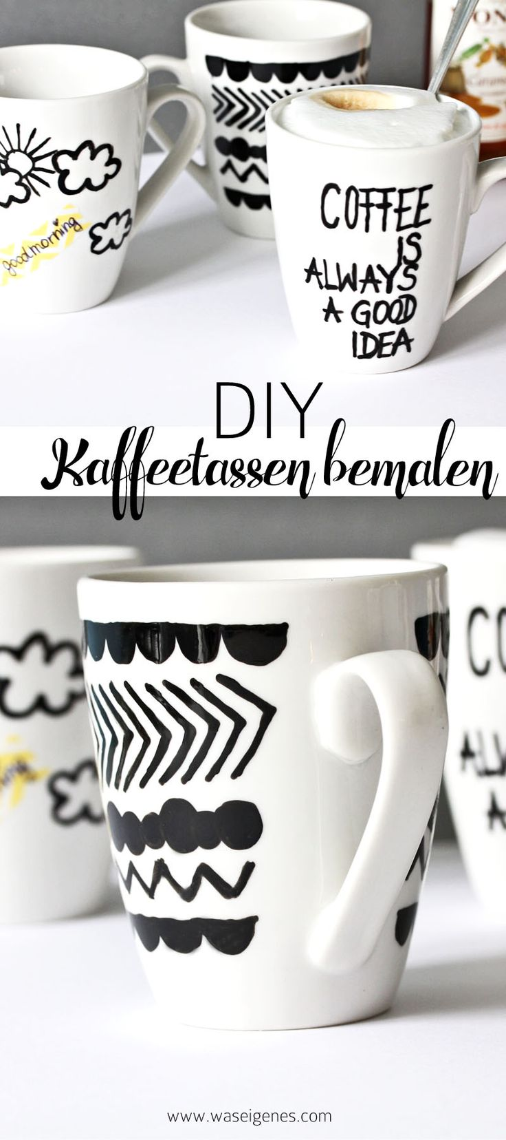 DIY Kaffeetassen bemalen und beschriften | good morning & coffee is always a good idea!