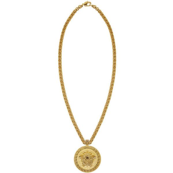 Versace Gold Large Round Medusa Chain Necklace ($1,065) ❤ liked on Polyvore featuring men's fashion, men's jewelry, men's necklaces, gold, mens pendant necklace, mens yellow gold cross necklace, mens gold pendant necklace, mens circle pendant necklace and mens gold chain necklace