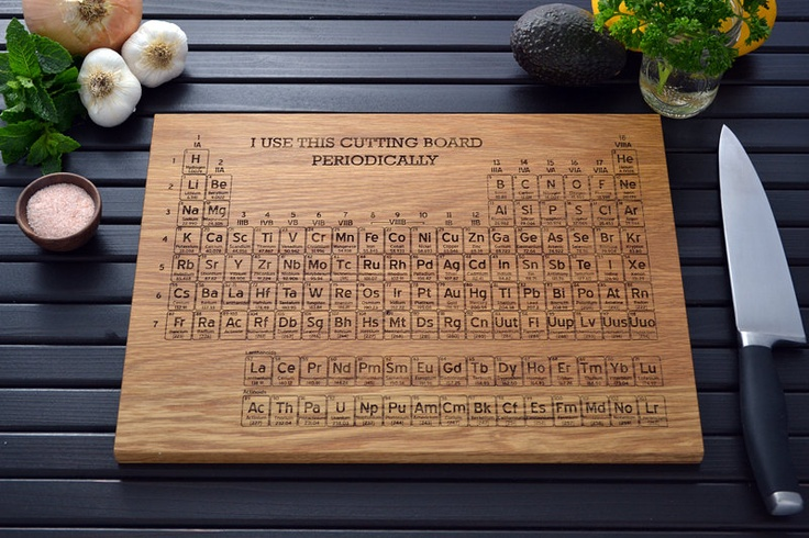 Periodic table engraved wood cutting board name your own element custom science graduation - Periodic table chopping board ...