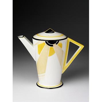 Art Deco Vogue (shape); Sunray (pattern) (Coffee pot)  -  Date: 1930 (designed) 1930 (manufactured)  Place: Fenton  -  Artist/maker: Slater, Eric