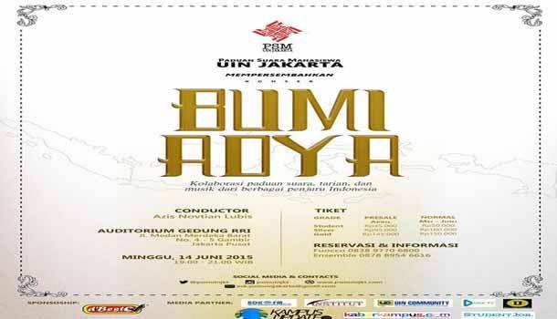 Jadwal Konser Kolaborasi Paduan Suara dan Tarian Tradisional Musik Bumi Adya Di Auditorium Gedung RRI Jakarta