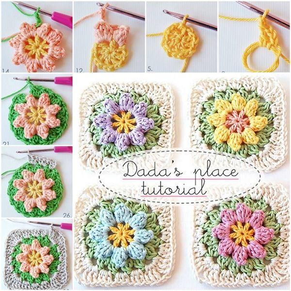 FREE PATTERN for Crochet Flower Granny Square blanket--> http://wonderfuldiy.com/wonderful-diy-crochet-flower-granny-squares/ #diy #crochet