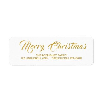 Simple Gold Christmas Address Labels Personalized - return address labels label diy personalize cyo unique design custom