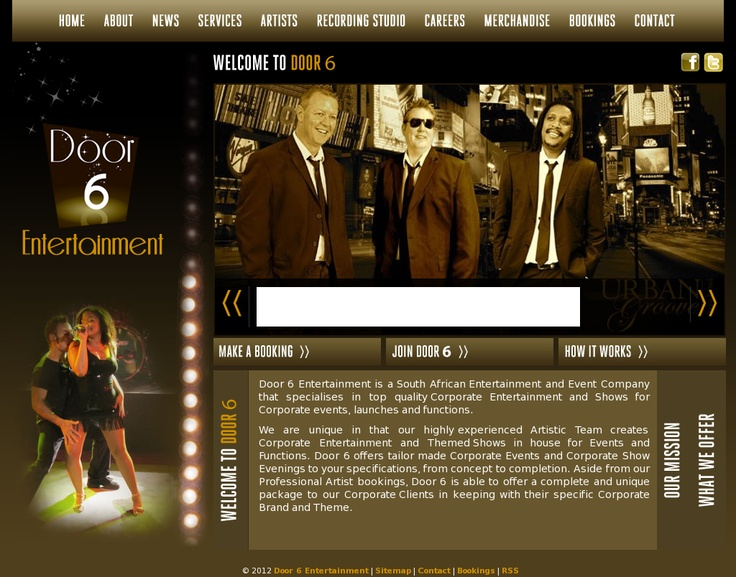 Door 6 Entertainment website.  http://www.door6.co.za