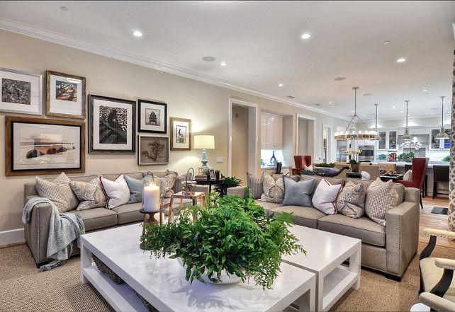 Family Home with Coastal Transitional Interiors - open floor plan (looks exactly like my house, but wider)