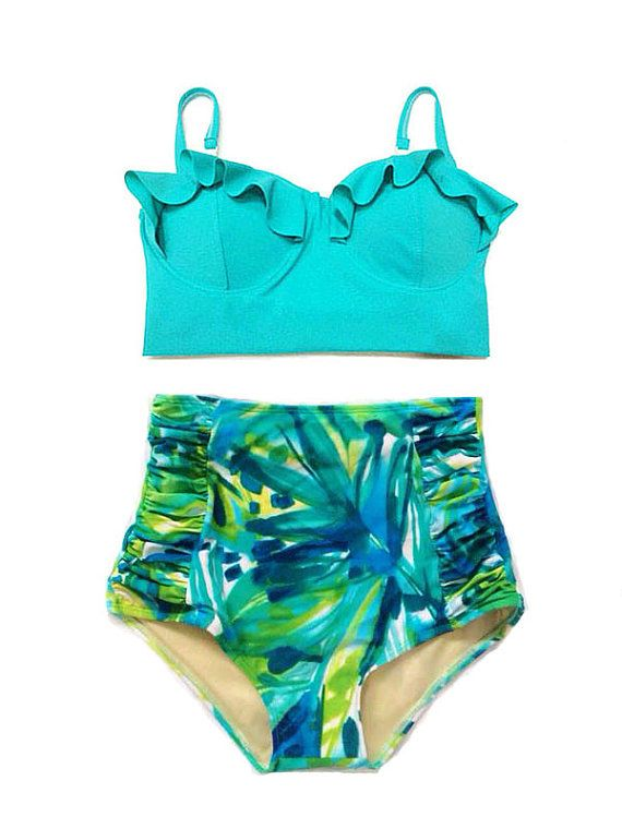 Green Mint Midkini Top and Flower Flora Highwaisted High Waisted Waist High-waist High-waisted Swimsuit Swimwear Bikini set Bathing suit S M