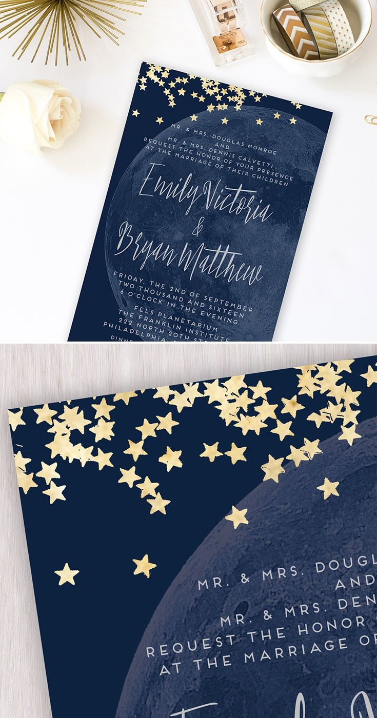Moon & Stars | Moon Wedding Invitation, Printable, Custom Invitation Card, Navy, Gold, Grey, Constellation, Lunar, Modern Script