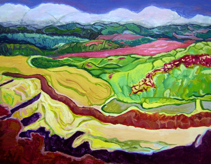 Spain Landscape 20x25cm acrylic on cardboard by LilyMokus on Etsy