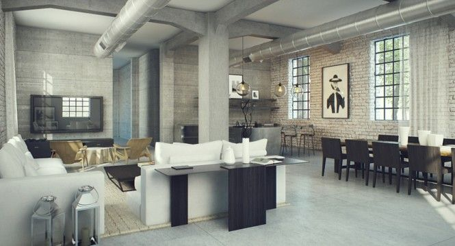 Interior Design Industrial Interior Design With White Brick Wall And No Curtain Interesting Industrial Style Interior Design Ideas