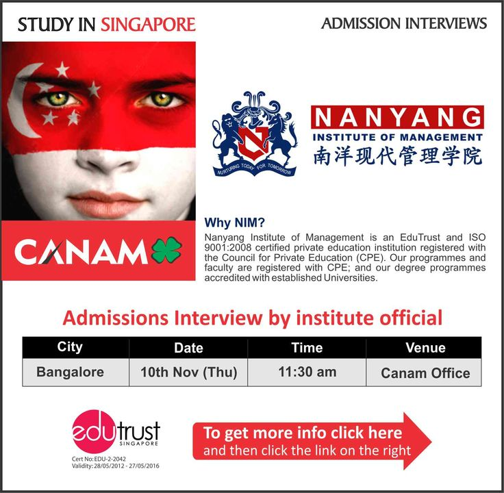 Study in Singapore Nanyang Institute of Management. For