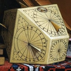 polyhedral sundial (detail from Hans Holbein's Ambassadors.)