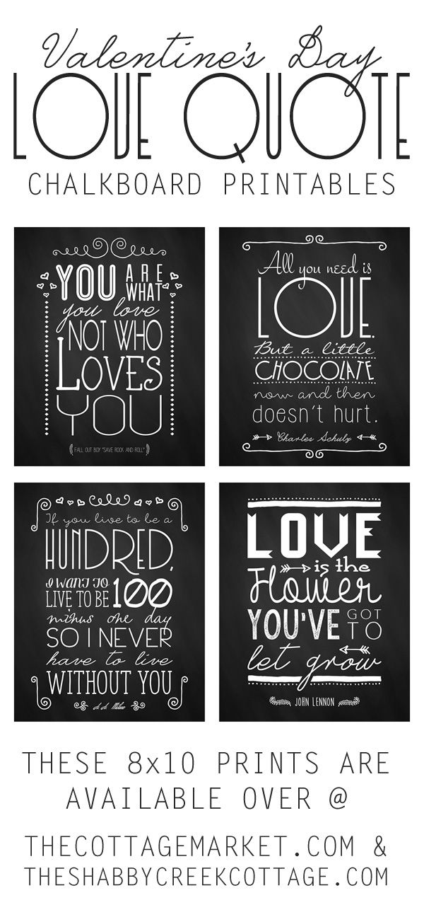 Valentine's Day Free Chalkboard Printables - The Cottage Market