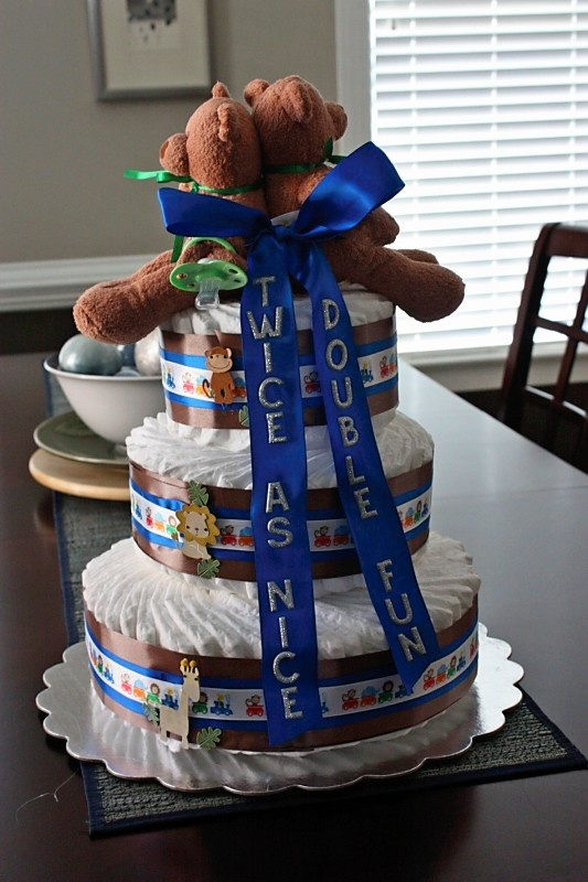 front of twin diaper cake