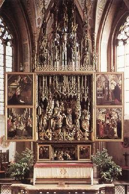 PACHER, Michael (b. ca. 1435, Bruneck, d. 1498, Salzburg)   Click!	 St Wolfgang Altarpiece  1479-81 Polychrome pine Parish Church, Sankt Wolfgang  In Austria - the natural route of Italian influence into central Europe - the Tyrolean painter Michael Pacher, influenced by Paduan and Venetian art, employed a sculptural rendering of form and a deep rendering of perspective which were monumental in style.  This is a double-transforming altarpiece (Wandelaltar) with two pairs of movable wings…
