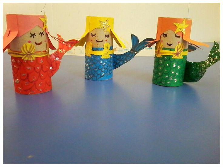 Tuvalet kâğıdı rulolarından deniz kızı