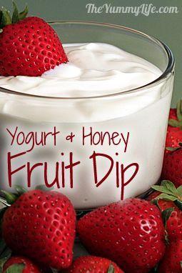 1/2 cup each low-fat: Greek yogurt  sour cream,  2 T. honey,1/2 t. vanilla