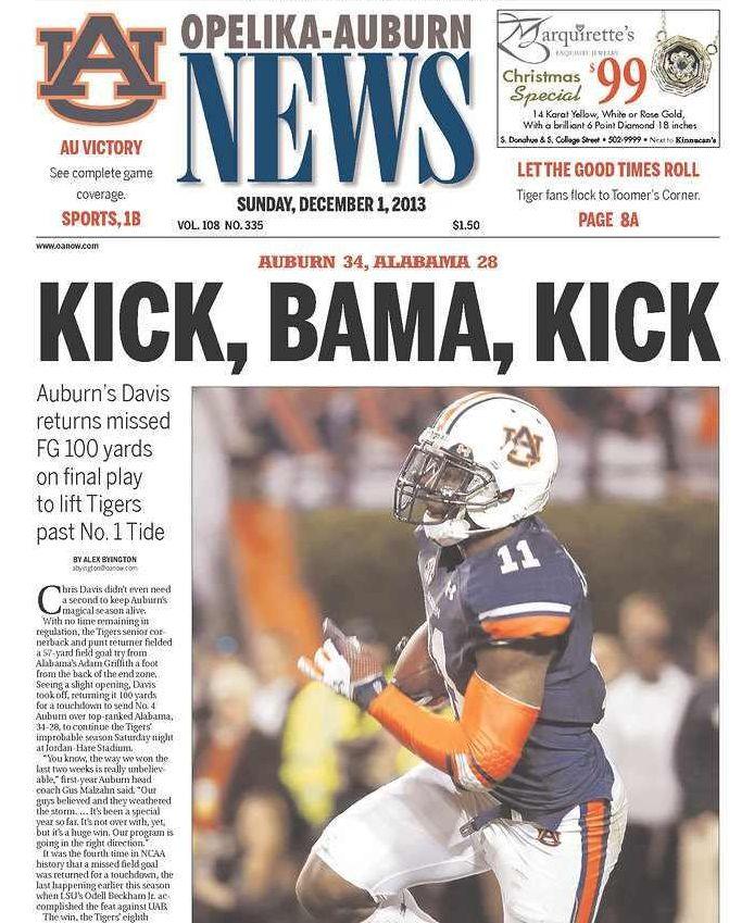 Kick BAMA Kick  Opelika Auburn News I have this paper - One of the perks of still having family in Opelika.