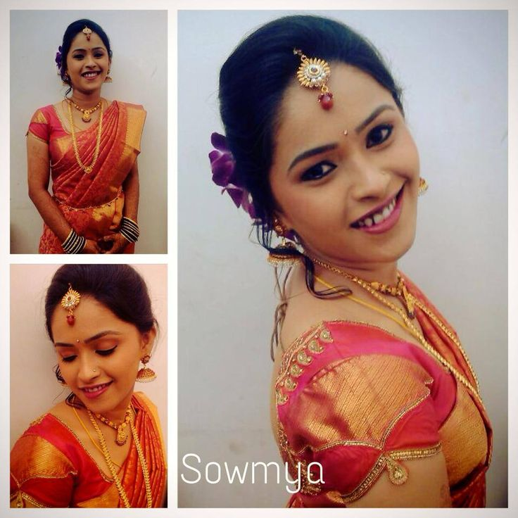 Traditional Southern Indian bride wearing bridal hair, saree and jewellery. Reception look. Makeup by Swank Studio. Find us at https://www.facebook.com/SwankStudioBangalore