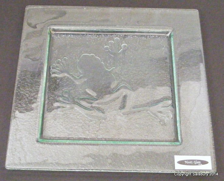 One of a kind frog collectors delight slumped glass plate
