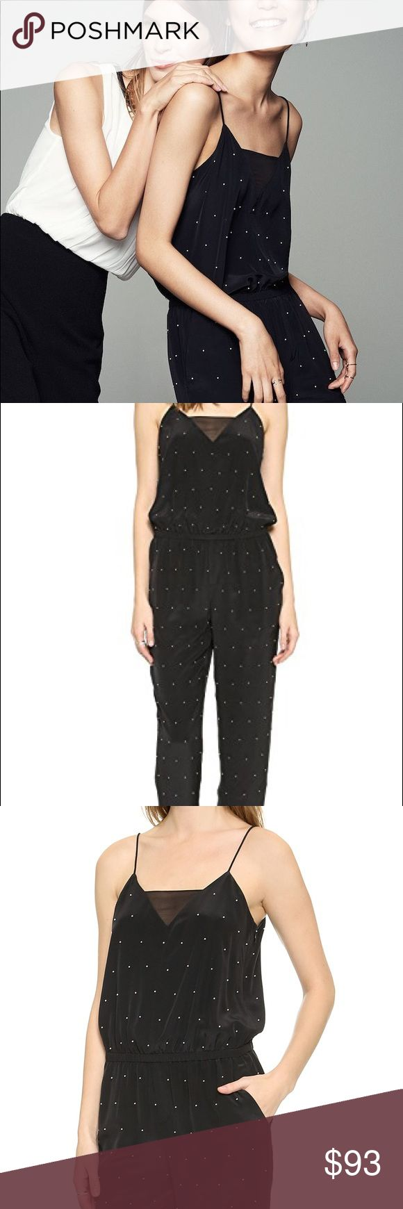 Club Monaco Leila Jumpsuit Black with Pearls Brand New with tags.  Imitation pearls lend an opulent look to this slouchy Club Monaco jumpsuit. A sheer panel accents the V neckline, and smocked elastic defines the waist. Spaghetti straps. Slant hip pockets. Hidden side zip. Lined.  Fabric: Plain weave silk. Shell: 100% silk. Lining: 100% polyester. Dry clean. Club Monaco Pants Jumpsuits & Rompers