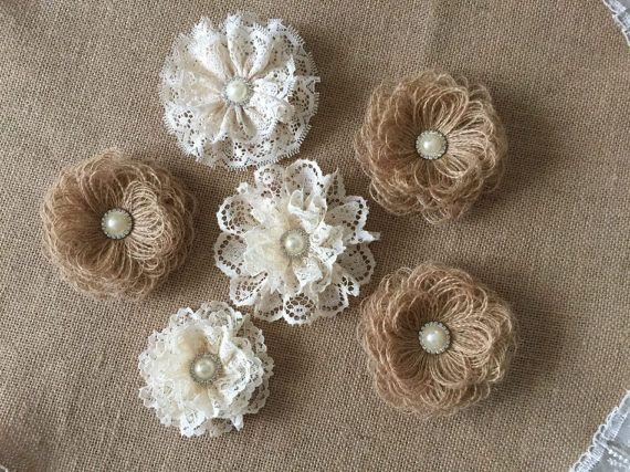 6 fiori fatti a mano, tela di ragno e pizzo, con strass perla pulsanti torta nuziale, bouquet da sposa, cerchietti