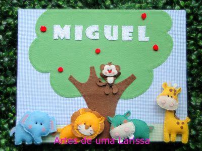 Artes de uma Larissa: Miguel Quadrinho Bichinhos na Selva, porta de maternidade para meninos!