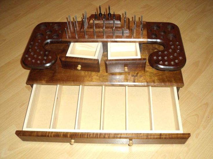 Portable Fly Tying Station Solid Walnut Single Bottom
