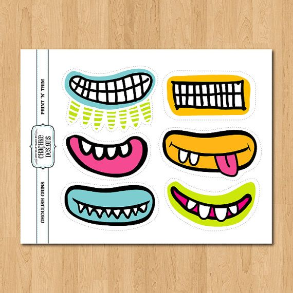 Ghoulish Grins PRINTABLE Monster mouths. $4.20, via Etsy.