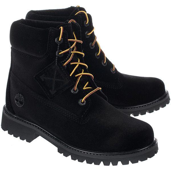OFF-WHITE C/O VIRGIL ABLOH Velvet Black // Velvet boots ($945) ❤ liked on Polyvore featuring shoes, boots, ankle boots, momma shoes, off white boots, black boots, laced boots, lacing boots and velvet shoes