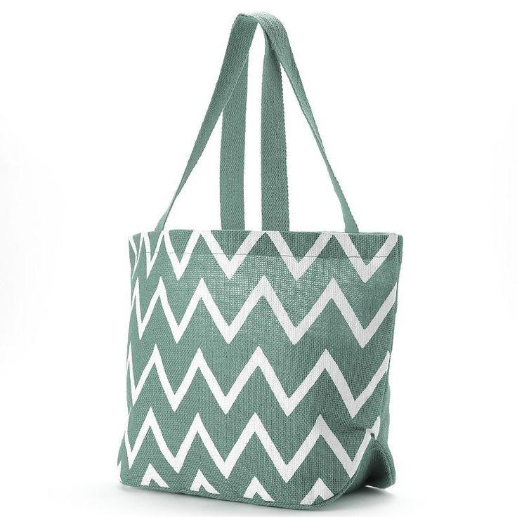 Jute Bags Viola Chevron Jute Shopper,