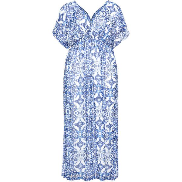 Mat White / Blue Plus Size Printed empire line maxi dress (£80) ❤ liked on Polyvore featuring dresses, plus size, white, blue maxi dress, plus size empire waist dresses, plus size chiffon dresses, plus size dresses and blue plus size dress