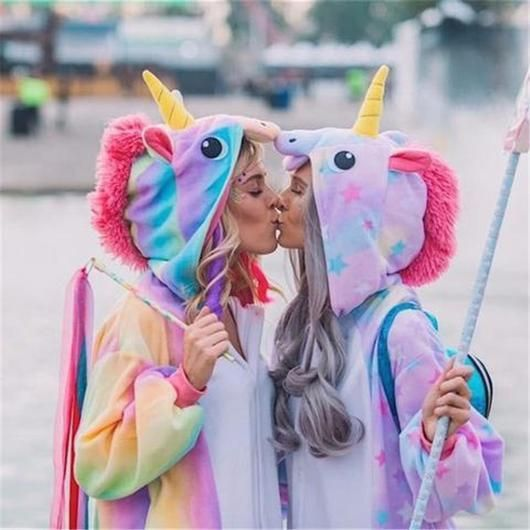 Magical Starry Purple & Rainbow Color Unicorn Onesie Costume Pajamas for Kids and Adults