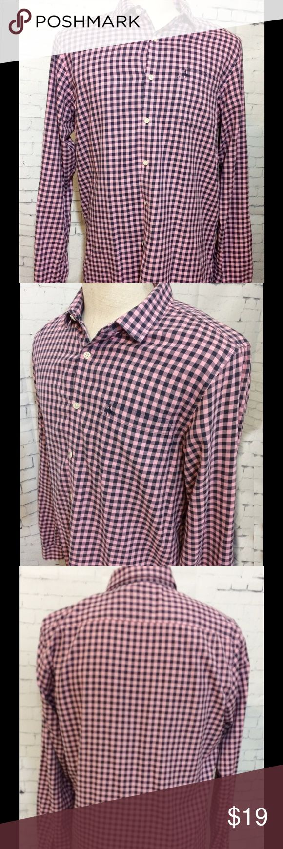 Jack Wills Fabulously British Navy Pink Check XL Jack Wills Fabulously British Navy Pink Check Classic Fit Light Flannel Shirt Size XL Jack Wills Fabulously British Shirts Casual Button Down Shirts
