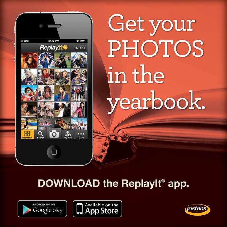 YEARBOOK SOCIAL MEDIA // Post this ReplayIt promotional image on your yearbook social sites to encourage students and parents to download the ReplayIt app. #yearbook #photos #content [Jostens]
