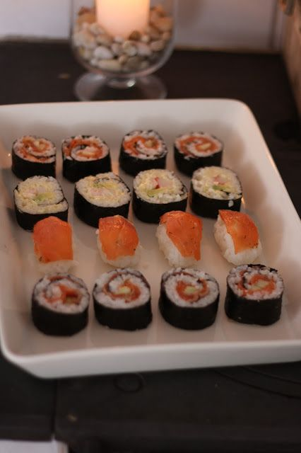 Homemade sushi - California roll, Salmonroll
