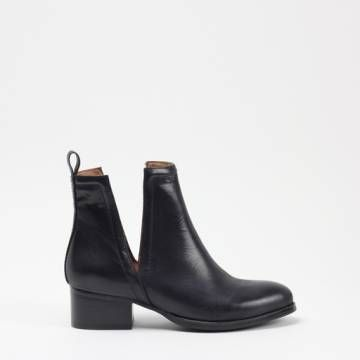 JEFFREY CAMPBELL ORILEY Black Leather Ankle Boots