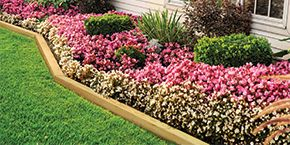 Landscape Timbers used as a flower border