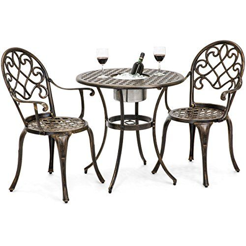 Best Choice Products Cast Aluminum Patio Bistro Table Set W Attached Ice Bucket 2 Chairs Copper Best Din Bistro Table Set Bistro Table Small Apartment Patio